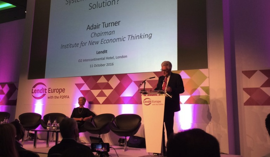 "Peer-to-peer lenders assess risk ""as well or better than"" the banks, says Lord Turner"
